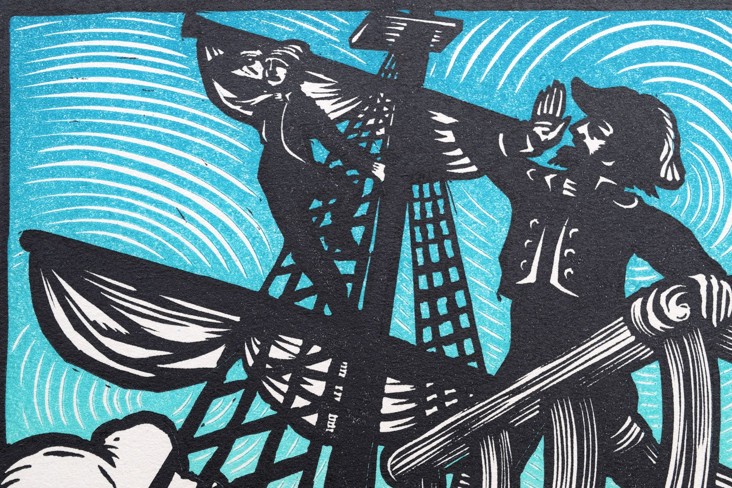 Image of Sir Patrick Spens (Child #58) Block print for Anaïs Mitchell and Jefferson Hamer
