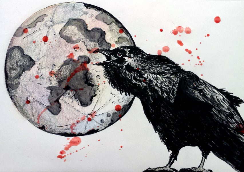 """Image of """"Raven At The Blood Moon"""" Print"""