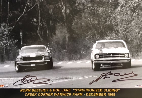 Image of Autographed photo by Bob Jane & Norm Beechey. Warwick Farm. 1968.