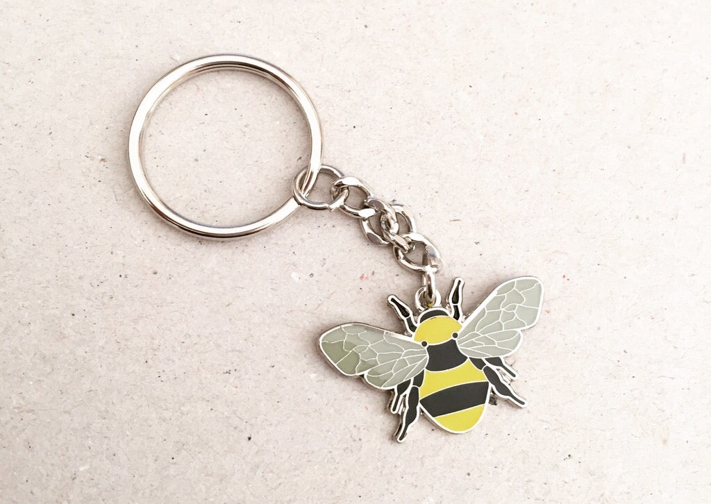 Manchester Bee Beekeeper Enamel Keyring In Yellow The