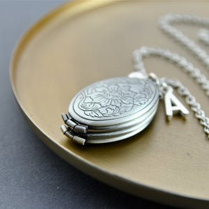 Image of Eva - Personalised Concertina Floral Etched Initial Locket