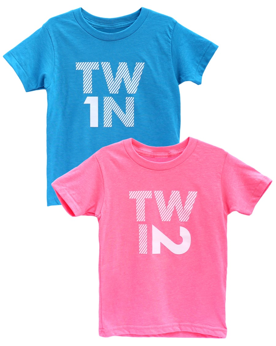 Image of TWIN 1 / TWIN 2 - Tees in Neon Blue & Pink