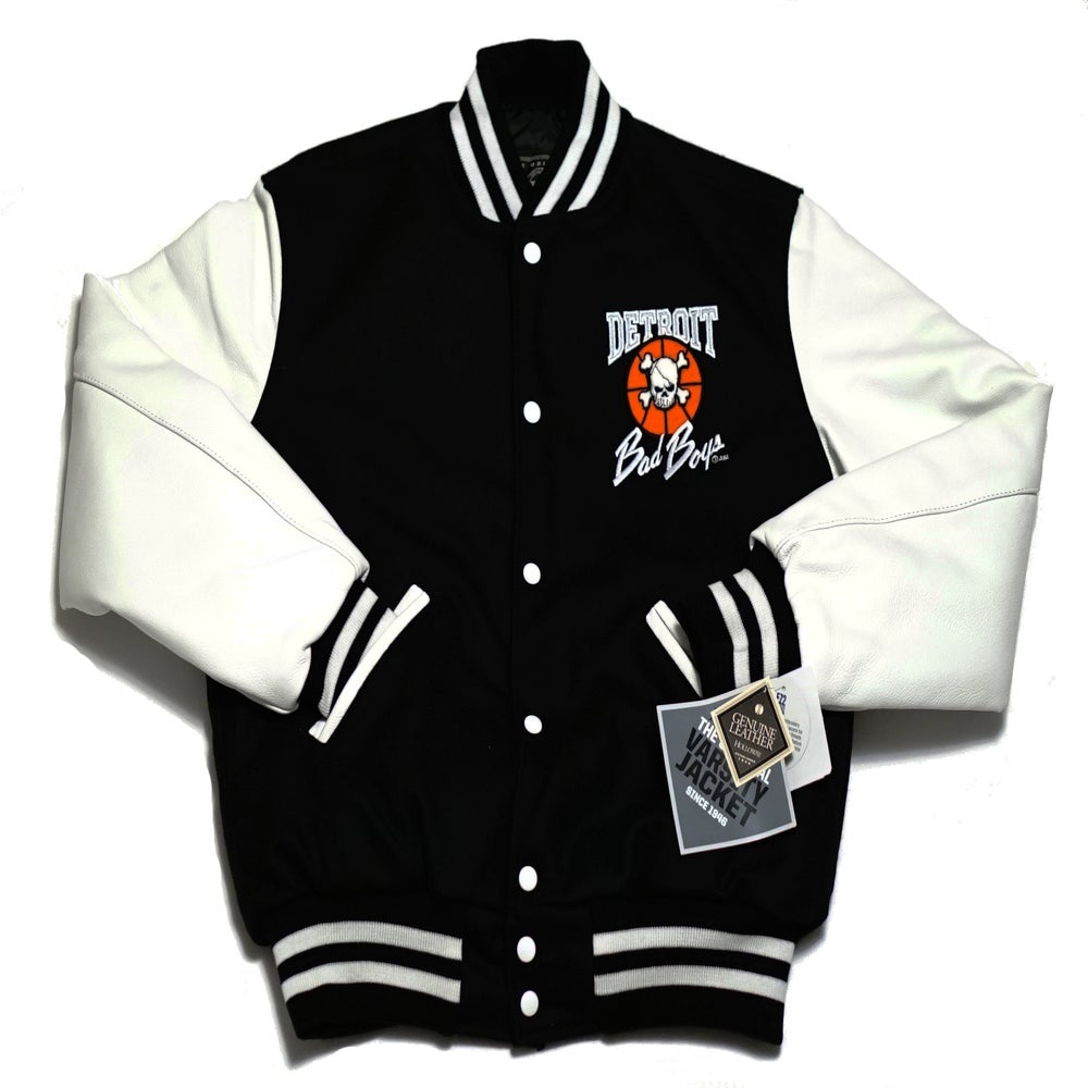 Image of Detroit Bad Boys Varsity Jacket Black W White Sleeves