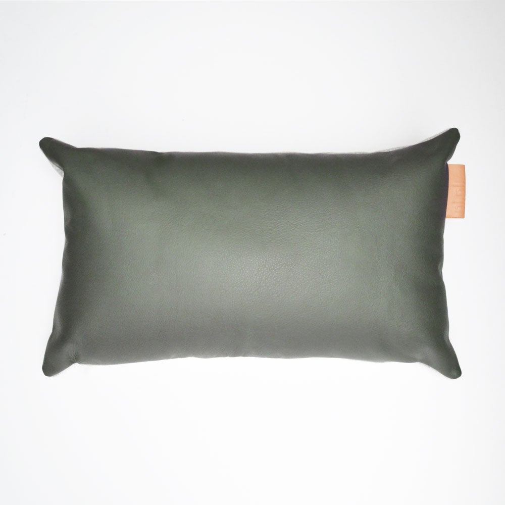 Image of SALE! - LAST ONE - Leather Tab Cushion Cover - Olive Rectangular WITH GREY FELT BACK