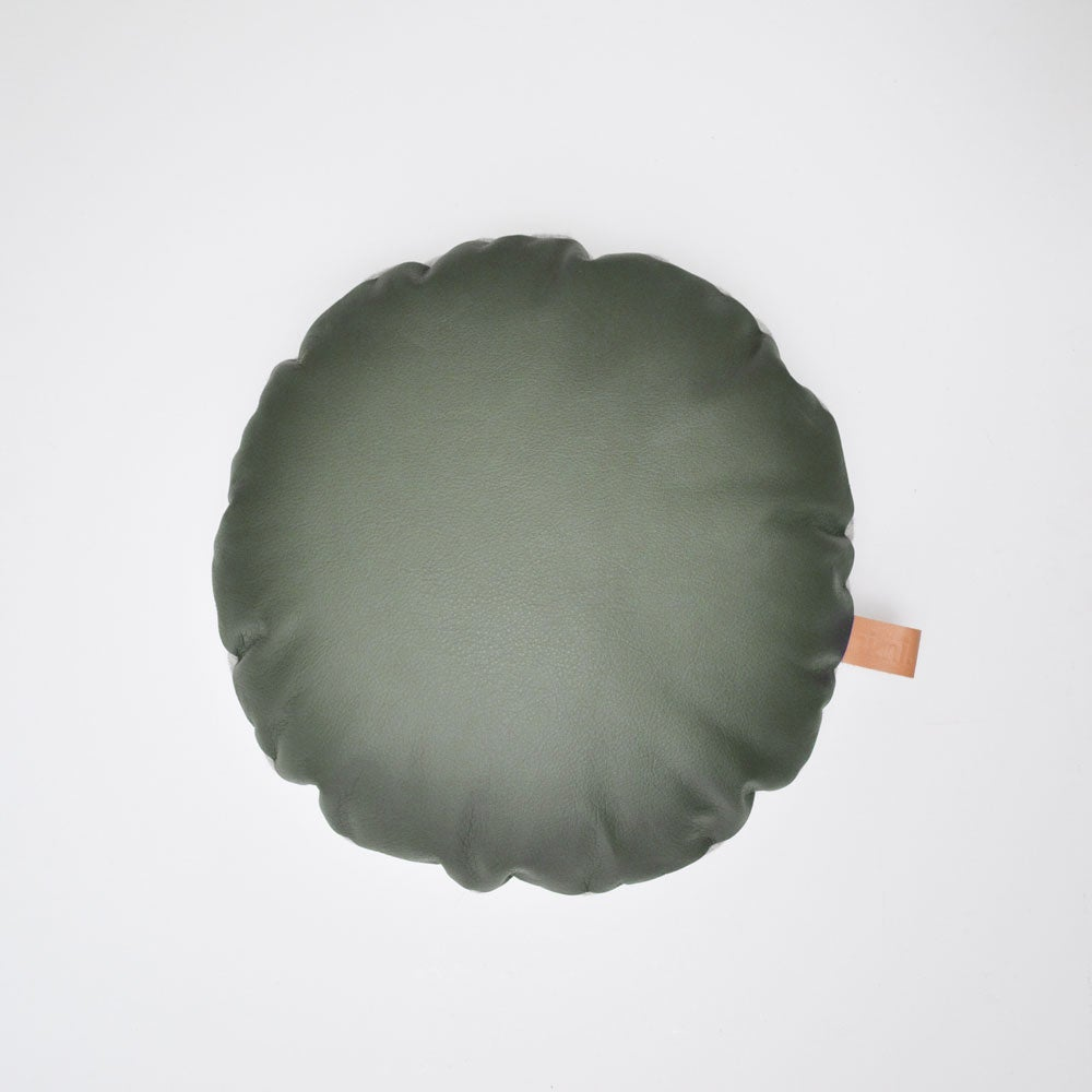 Image of Leather Tab Cushion Cover - Olive Round