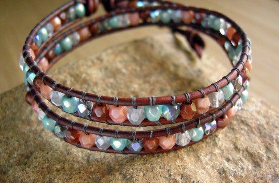 Image of Multi Color Czech Leather Wrap Bracelet
