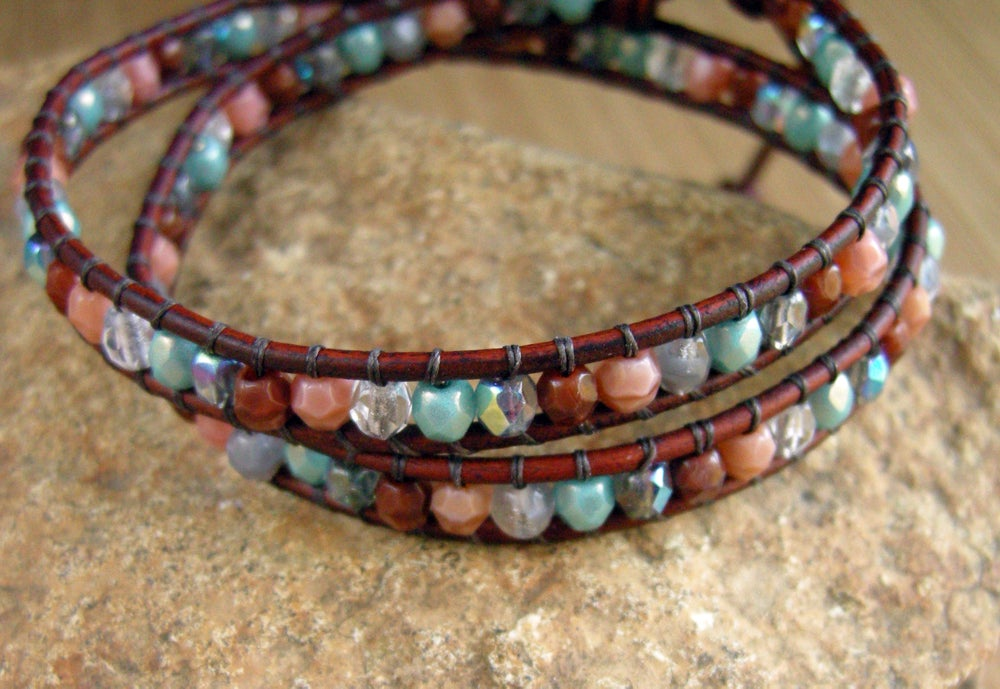 Image of Multi Color Czech Leather Wrap Bracelet