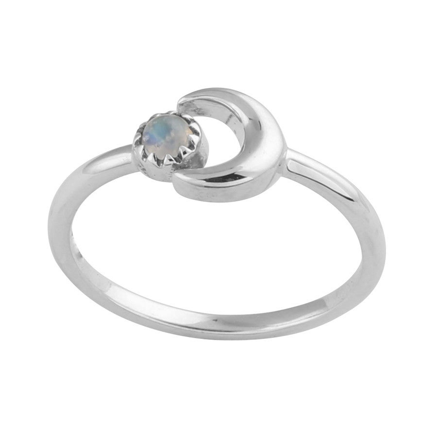 Image of Sterling Silver & Rainbow Moonstone Little Luna Ring