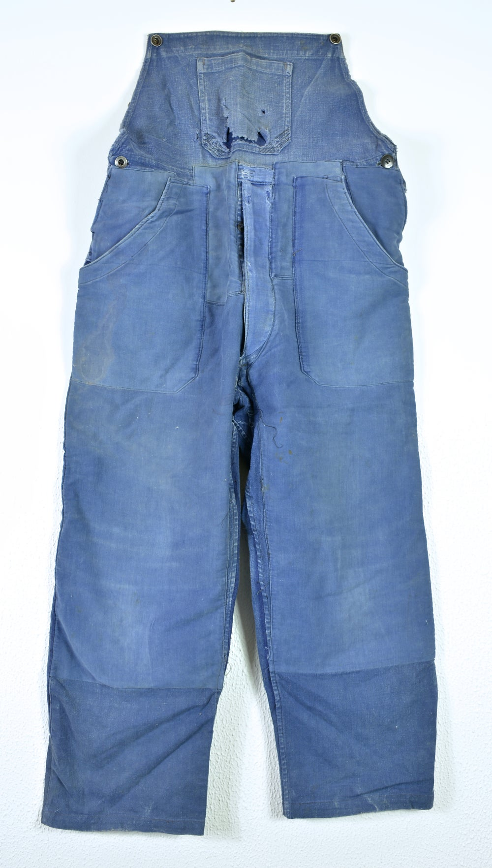 Image of 1930'S FRENCH INDIGO LINEN OVERALL FADED & MOLESKIN PATCHES