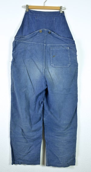 Image of 1930'S FRENCH INDIGO LINEN OVERALL FADED & MOLESKIN PATCHES インディゴリネンサロペット