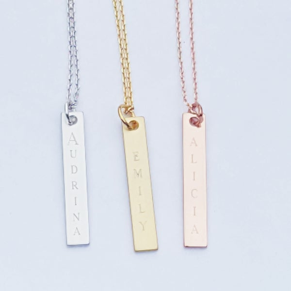 Image of Vertical Name Bar Necklace
