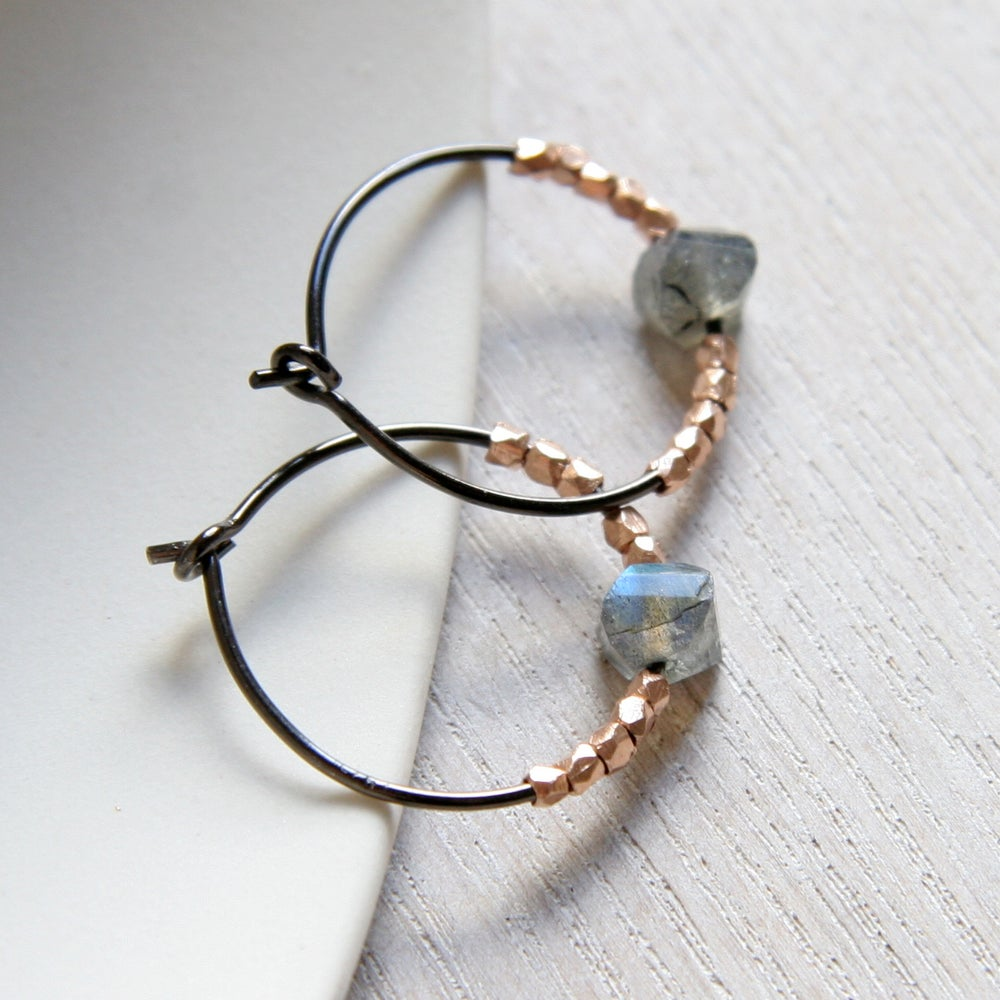 Image of Oxidised 925 And Labradorite Hoops