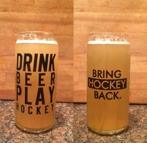 Image of 20oz Drink Beer Play Hockey Tall Boy Glass RE-STOCK [Shipping Included]