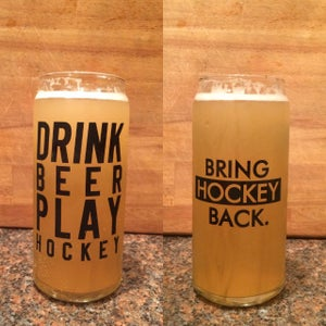 Image of 20oz Drink Beer Play Hockey Tall Boy Glass [Shipping Included + Pre-sale]