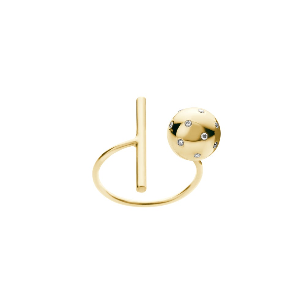 Image of An.no Small Bubble Gold ring w Brilliants