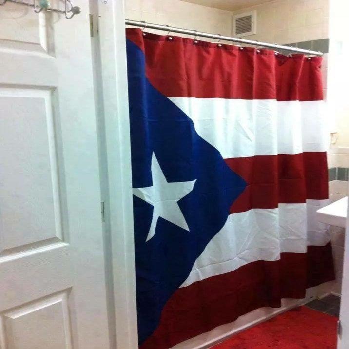 Cortinas De Baño Puerto Rico:Cortina de baño con la bandera de Puerto Rico / Orgulloso de SER