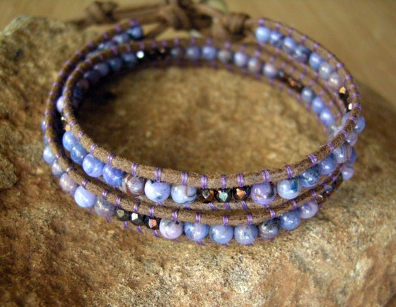 Image of Purple Agate Double Wrap Bracelet