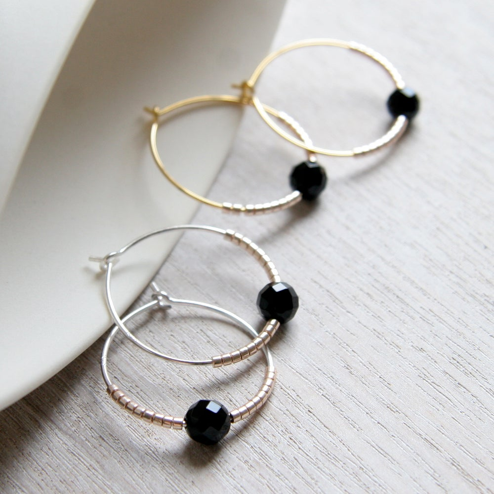 Image of Faceted Onyx And Petite Bead Hoops