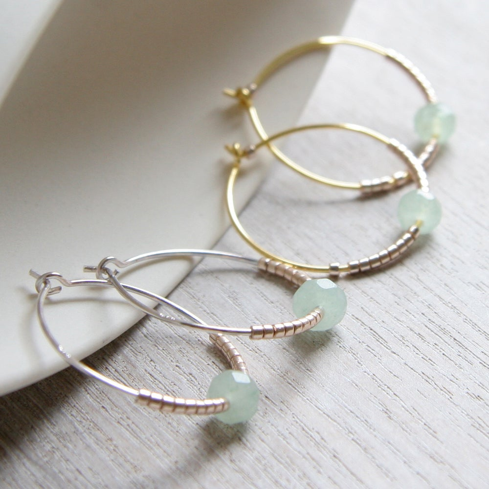 Image of Green Jade And Petite Beads Hoop Earrings