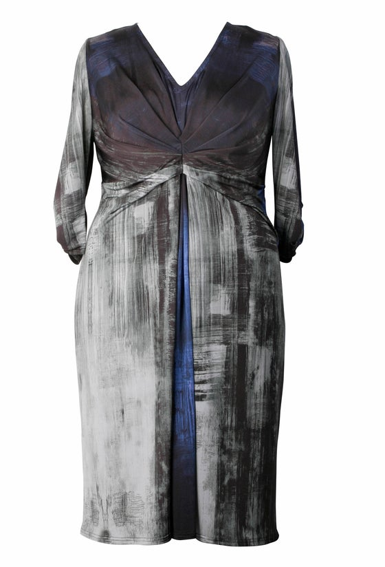 Image of Anna Scholz Digital Jersey Pleat Tuck Dress in Rothko print