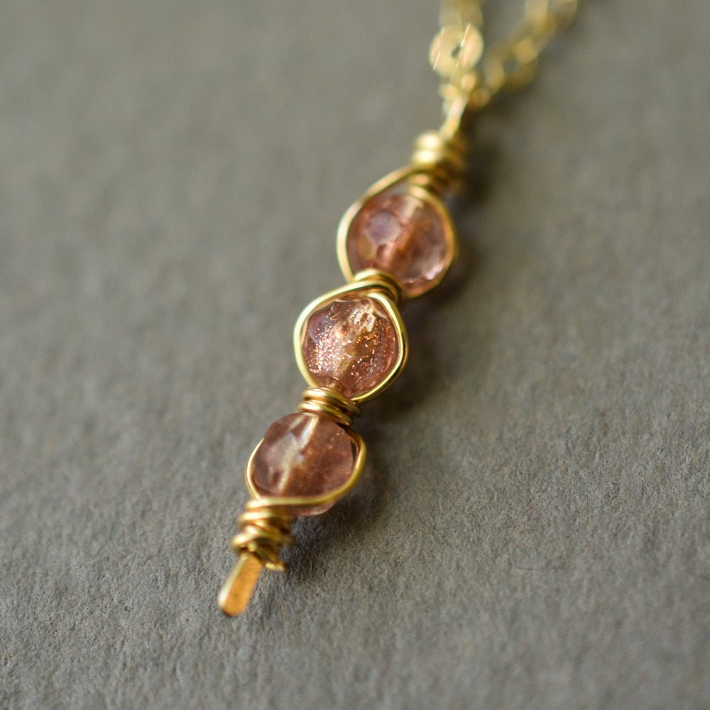 Image of Oregon sunstone necklace vertical trio