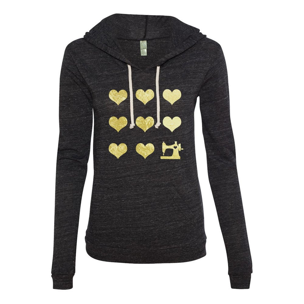 Image of Women's Gold I Heart Sewing Long Sleeve Hooded T-Shirt