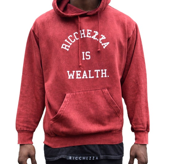 "Image of ""RICCHEZZA™ IS WEALTH."" Pullover Hooded Sweatshirt (Acid Wash Red / White)"