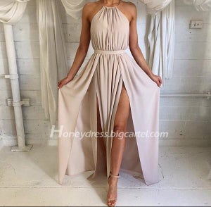 Image of Chiffon Nude Halter Open Back Prom Dress With Slit,New arrival!