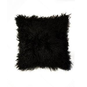 Image of 676685006875 Natural-MONGOLIAN SHEEPSKIN PILLOW-BLACK