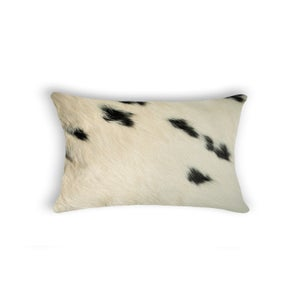 Image of 676685025692 Natural-TORINO-COWHIDE-PILLOW-WHITE & BLACK