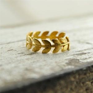 Image of Laurel - Gold Leaf Band Ring