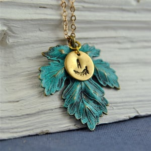 Image of All The Leaves Are Green - Personalised Leaf Necklace