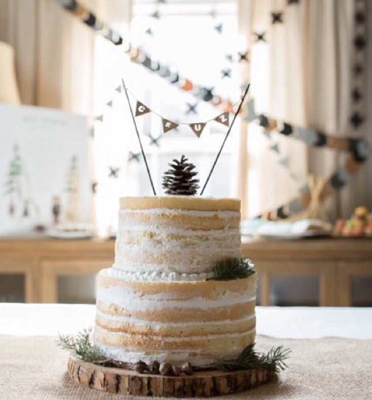 Image of WOOD BUNTING CAKE TOPPER