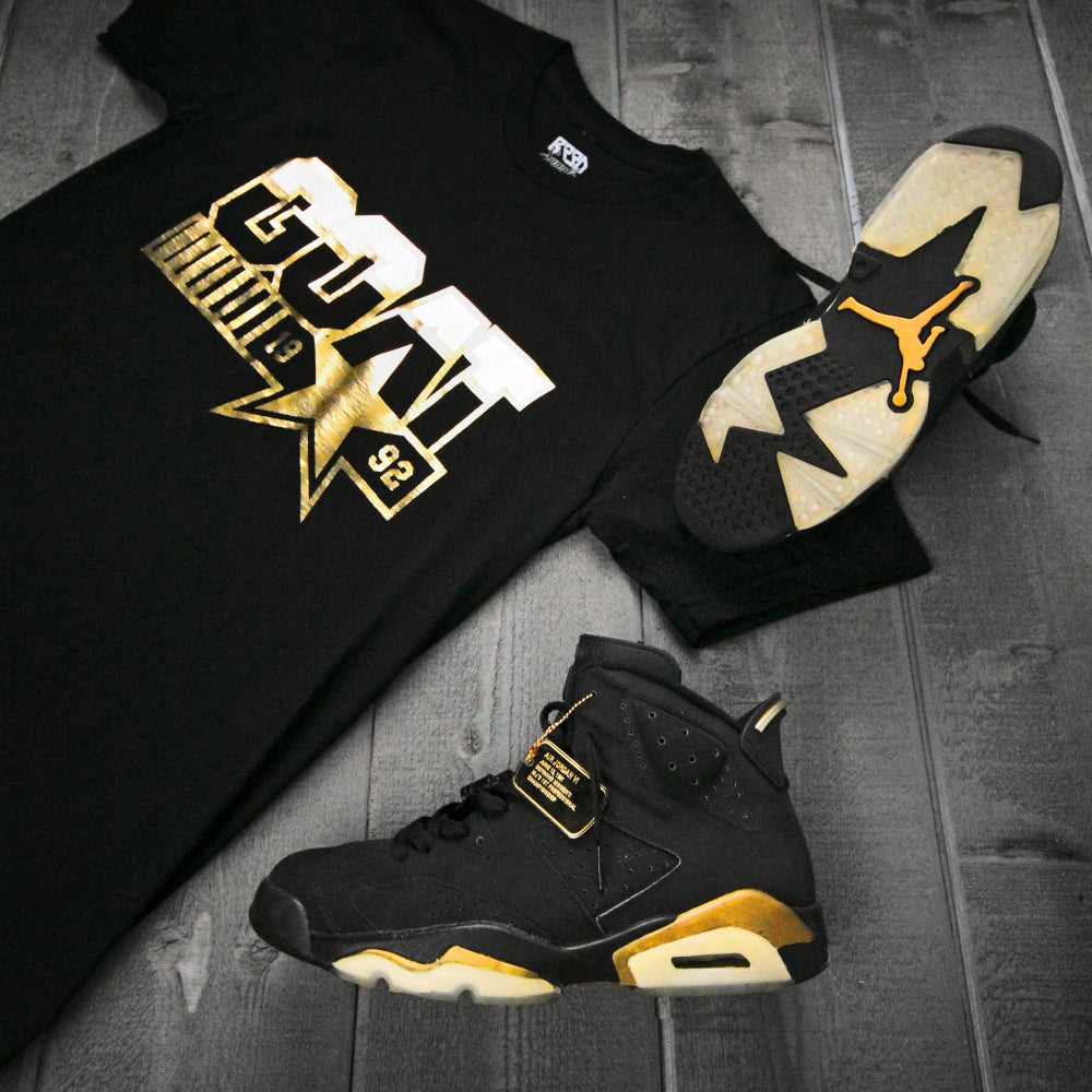 "Image of ""Greatest Of All Time"" Shirt - Black/wht/gold"