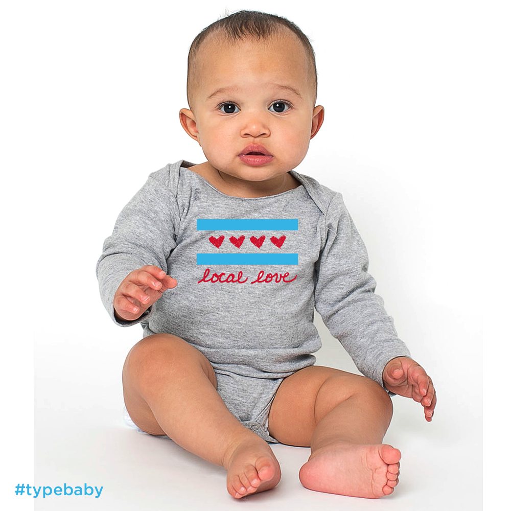Image of Local Love Chicago Flag Long Sleeve Onesie   Chicago, IL