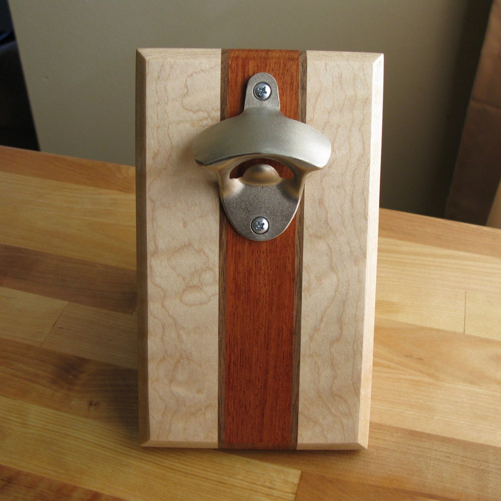 Image of Curly maple, walnut, and bubinga magnetic bottle opener