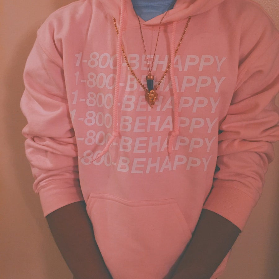 Image of Pink 1-800-BEHAPPY Hoodie