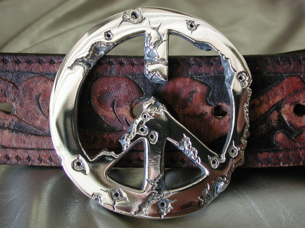 """Image of """"Peaces"""" Belt Buckle - Sterling Silver"""
