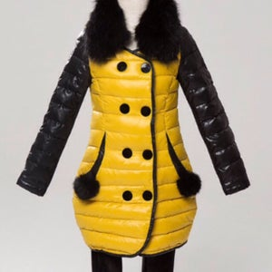 Image of Black and Yellow Down coat kids