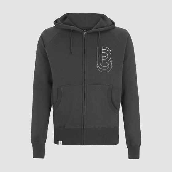Image of Bedrock Re:Structured Mens Zipped Hoodie in Charcoal Grey pre-order