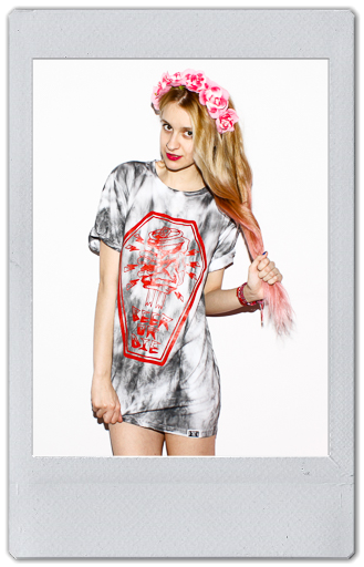 Image of GREY/RED TIE DYE T-SHIRT