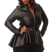 Image of PLUS SIZE Quilted Peplum Jacket
