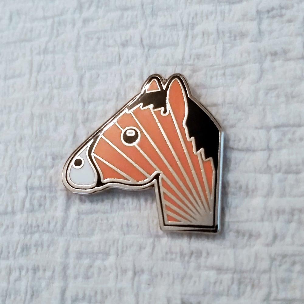 Image of Coral Horse Emoji Pin