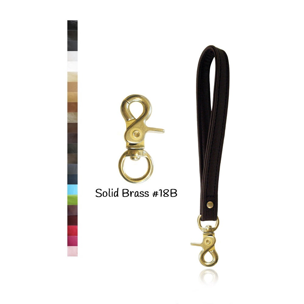 Image of Leather Wristlet Strap with SOLID BRASS #18B Swivel Snap Hook - Your Choice of Leather & Width