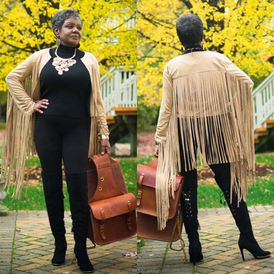 Image of Detroit PerSUEDE fringe jacket and Copper Pencil Skirt