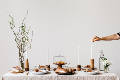 Image of Cork + Wood Candle Sticks