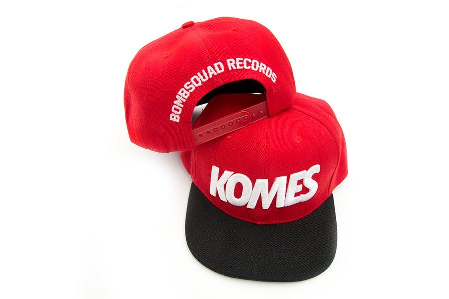 Image of KOMES Snapback - Red, Black & white