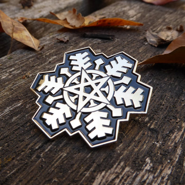 Image of Pentagram Snowflake Pin
