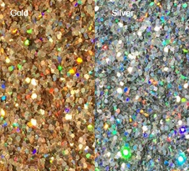 """Image of Gold or Silver Holoflake Glitter </p> .025""""  (1/40"""")"""