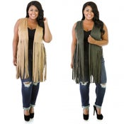 Image of PLUS SIZE Suede Fringed Vest